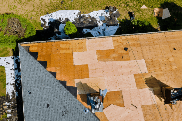 This is a picture of a roof replacement project.